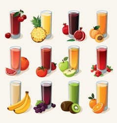 Set of tasty fresh squeezed juices vector image vector image