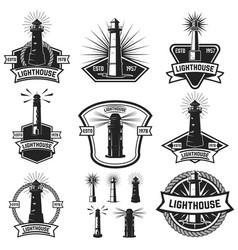 set of the badges with lighthouses design vector image vector image