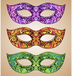 Set of three ornate floral Venetian carnival masks vector image