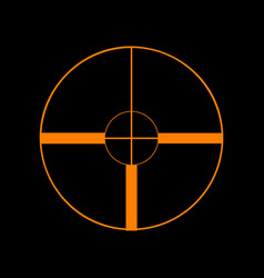 sight sign orange icon on black vector image vector image