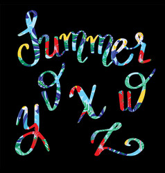 summer lettering tropical letters with decorative vector image vector image