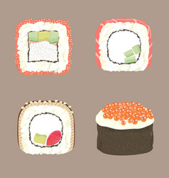 sushi uramaki gunkan vector image vector image