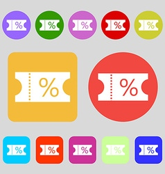 Ticket discount icon sign 12 colored buttons flat vector