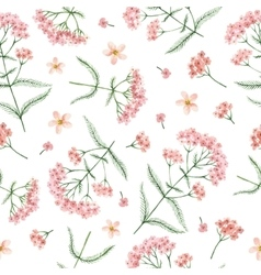 Watercolor seamless pattern with yarrow vector