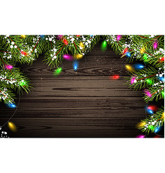 Wooden background with christmas tree vector