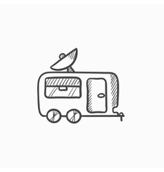 Caravan with satellite dish sketch icon vector image