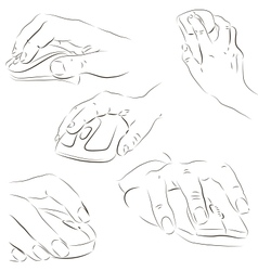 Hands with a computer mouse vector