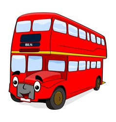 Smiling red bus vector