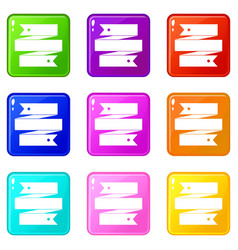 ribbon banner set 9 vector image