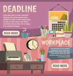 Office orthogonal banner set vector