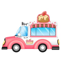 A pink vehicle selling cakes vector