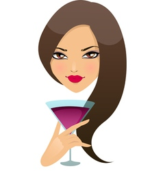 Beautiful girl with cocktail in a glass vector image