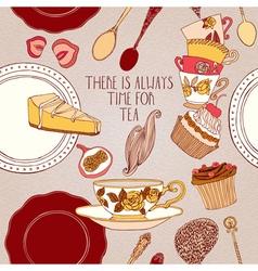 Tea cupcake fruits berries vector image