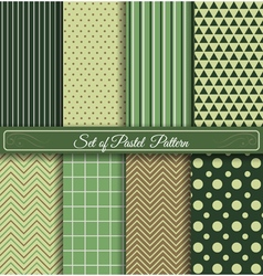 Set of green samless pattern vector