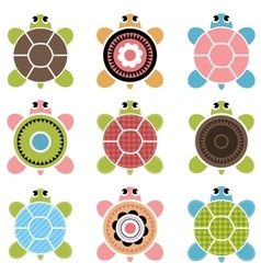Set of color turtles vector