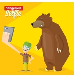 Dangerous selfie with bear concept vector