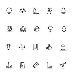 Park line icons 3 vector