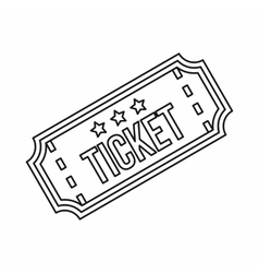 Ticket icon in outline style vector