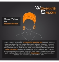 Arabic woman in orange turban on black vector image vector image