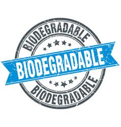 Biodegradable round grunge ribbon stamp vector