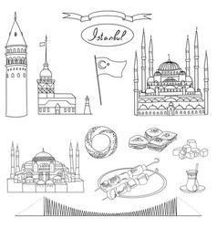 Black and white istanbul tourist set vector