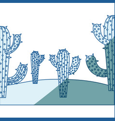 Blue shading silhouette with landscape of desert vector