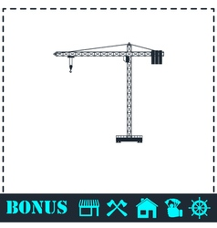 Building crane icon flat vector