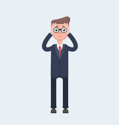 businessman looking through binocular and smiling vector image