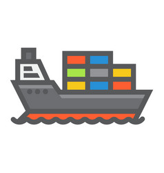 cargo ship filled outline icon logistic delivery vector image vector image