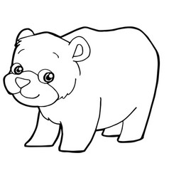 Cartoon cute bear coloring page vector