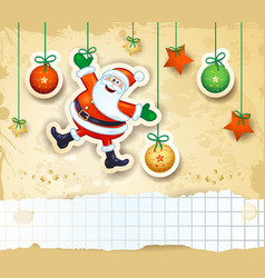 christmas background with happy santa and copy vector image vector image