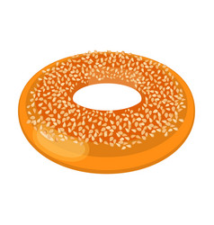 Closeup of doughnut covered with small nuts vector