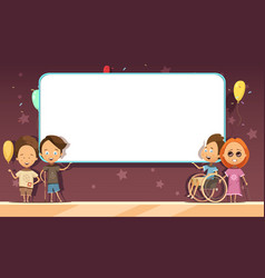 Disabled kids with banner cartoon design vector