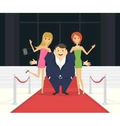 Fat famous man with his thin girlfriends on the vector