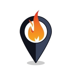 Flame point - map pointer with fireplace sign - vector