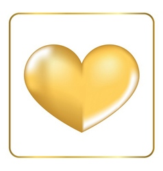 Gold heart 3D 3 vector image vector image