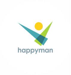 happy man logo vector image