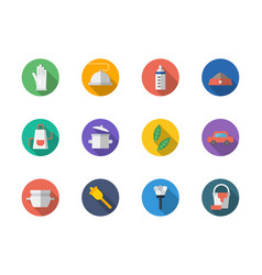 housekeeping staff flat round icons set vector image vector image