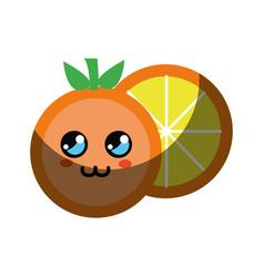 Kawaii cute thinking orange fruit vector