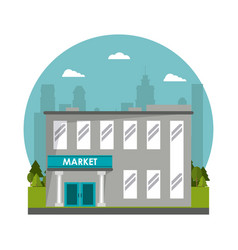 Market building commercial tree city background vector