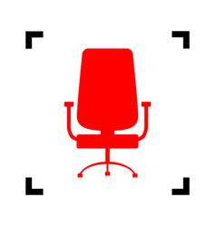Office chair sign red icon inside black vector