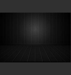 realistic black wood wall and floor room vector image