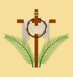 religious cross crown and palm branches vector image