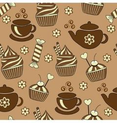 seamless brown background with tea and sweets vector image