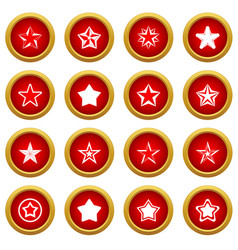 Star icon red circle set vector