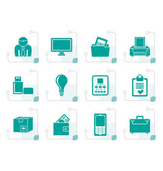 Stylized business and office equipment icons vector