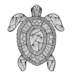 Stylized turtle zentangle vector image vector image