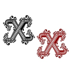 Vintage letter x with ornament vector
