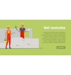 Wall construction two men buildinng the wall vector