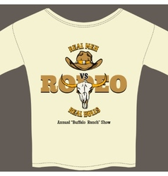 White Rodeo Tee Shirt with Graphics vector image vector image